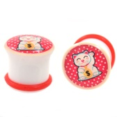 "Lucky Winner Cat Single Flared Plugs (2g-5/8"")"