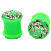 "Flower Filled Green Single Flared Plugs (2g-5/8"")"