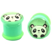 "Curious Panda Bear Single Flared Ear Plugs (2g-1"")"
