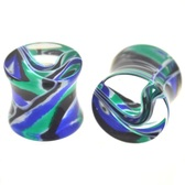 "Blue/Green/Black/Clear Crazy Swirl Plugs (8g-5/8"")"