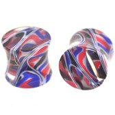 "Red/Blue/Black/White Crazy Swirl Ear Plugs (8g-5/8"")"