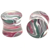 "Green/Brown/White Crazy Swirl Ear Plugs (8g-5/8"")"