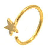 Gold Plated Star Nose Hoop Ring 20 Gauge 5/16""