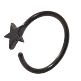 Black Plated Star Nose Hoop Ring 20 Gauge 5/16""
