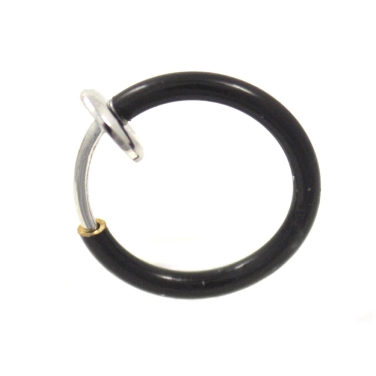 Black Titanium Snap On Fake Septum Piercing Hoop Bodydazz Com