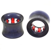 "Red/Clear Gem Lined Interior Tunnels Plugs (0g-1"")"