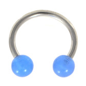 Blue Glow in The Dark Balls Horseshoe Ring 16G/14G