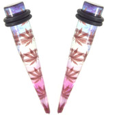 "Trippy Purple Pot Leaf Print Acrylic Tapers (8g-1/2"")"