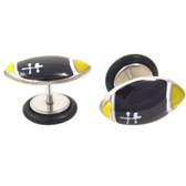 Black & Yellow Football Top Fake Plug Earrings