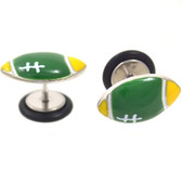 Green & Yellow Football Top Fake Plug Earrings