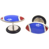 Blue & Red Football Top Fake Plug Earrings