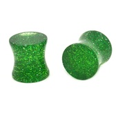 "Solid Green Glitter Saddle Ear Plugs (8g-5/8"")"