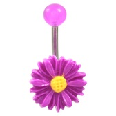 Bright Purple Daisy Flower Belly Button Ring