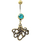 Brass Plated Octopus Teal CZ Belly Ring