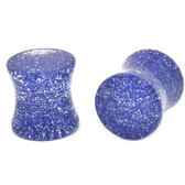 "Solid Blue Glitter Saddle Ear Plugs (8g-5/8"")"