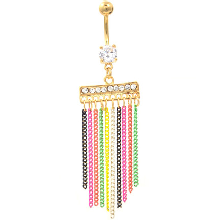 Gold plated neon chains chandelier belly ring bodydazz chandelier belly ring image 1 mozeypictures Images
