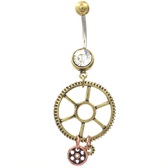 Steampunk Style Gears & Dangles Belly Ring