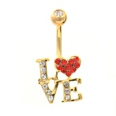 Gold Plated L-O-V-E Gem Bedazzled Belly Ring