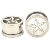 "Steel Punk Star Screw Ear Plug Tunnels (0g-1"")"