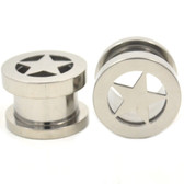 "Steel Center Star Screw Ear Plug Tunnels (2g-1"")"