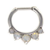 5-Gem Milky White Opalite Steel Septum Clicker 16G