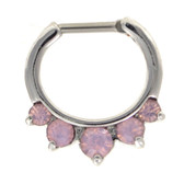 5-Gem Cloudy Pink Opalite Steel Septum Clicker 16G