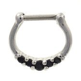 Petite Black 5-Gem CZ Steel Septum Clicker 16G
