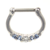 Petite Blue/Clear 5-Gem CZ Steel Septum Clicker 16G
