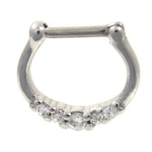 Petite Clear 5-Gem CZ Steel Septum Clicker 16G