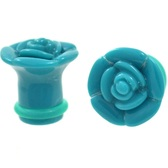"Teal Rosebud Single Flared Acrylic Plugs (6g-1"")"