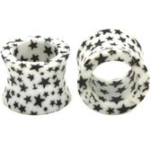 "All Over Star Print Acrylic Ear Plug Tunnels (2g-5/8"")"