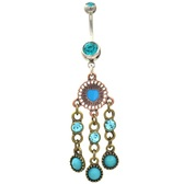 Antique Heart Shield Triple Dangle Belly Ring (Blue CZ's)
