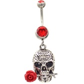 Be My Valentine Skull Belly Ring (Red Gems)