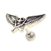 Vintage Skull & Wings Cartilage Stud Bar 16g