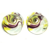"Yellow/Purple Wild Swirl Pyrex Glass Plugs (2g-5/8"")"