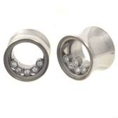 "Clear Gem Shaker Steel Saddle Plugs (0g-5/8"")"
