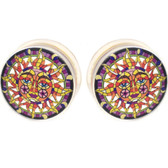 "Stained Glass Sun Face Clear Acrylic Plugs (2g-1"")"