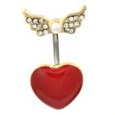 Winged Angels Heart Gold/Steel Belly Ring