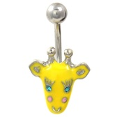 Cute Yellow Giraffe Face Belly Button Ring