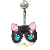 Fancy Cat Face Non-Dangle Belly Ring