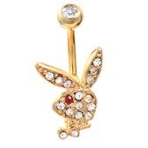 Fancy Gold Playboy Bunny Red/Clear CZ Belly Ring