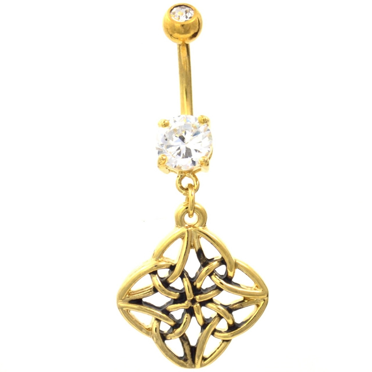 4 Sided Celtic Knot Gold Plated Belly Ring Bodydazz Com