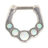 White Opal Gem Set Septum Clicker 16G