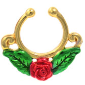 Red Rose Green Leaves Fake Golden Septum Ring