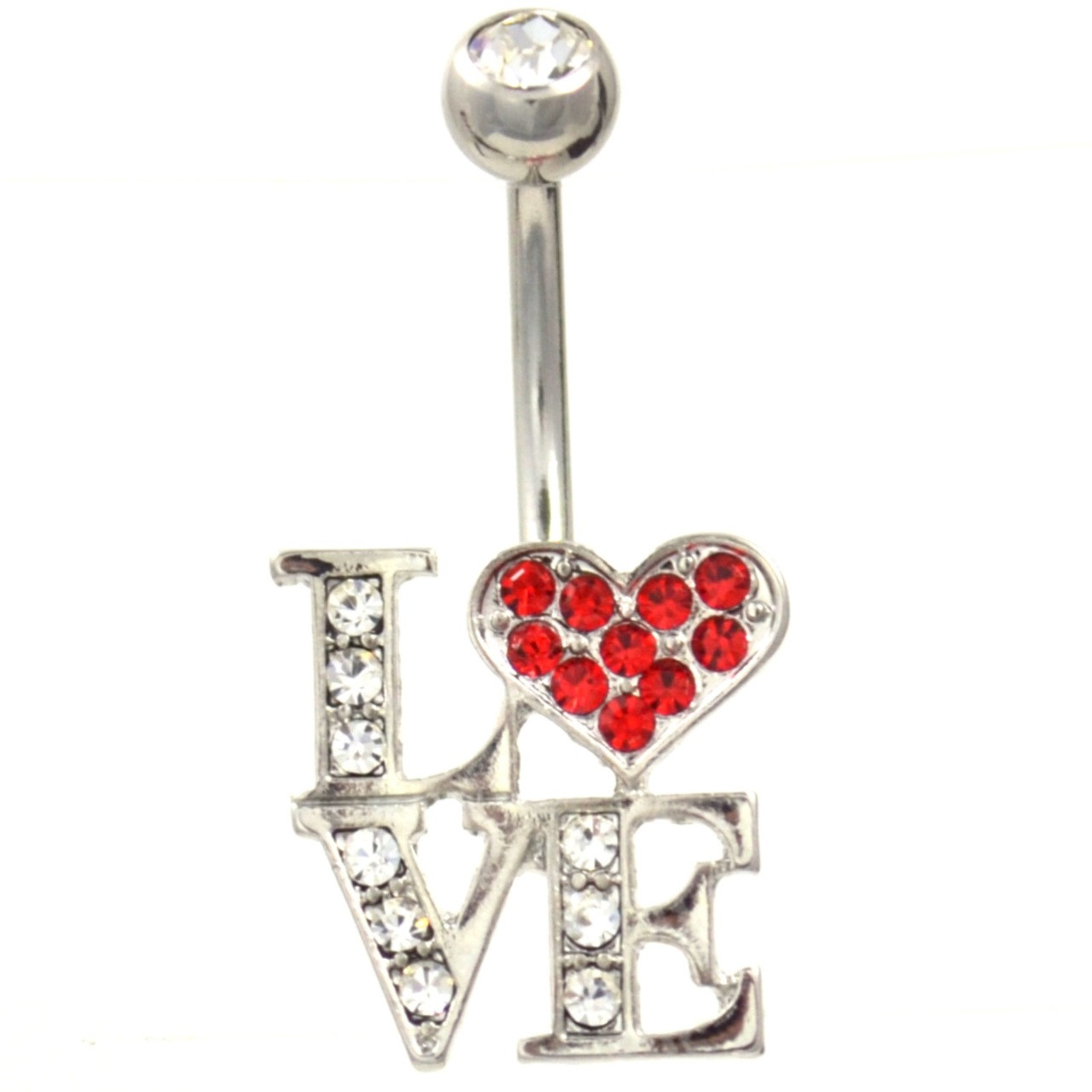 L O V E Gem Bedazzled Stainless Steel Belly Ring