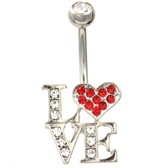 L-O-V-E Gem Bedazzled Stainless Steel Belly Ring