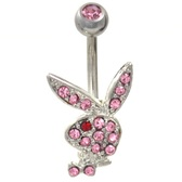 Playboy Bunny Pink/Red CZ Non-Dangle Belly Ring