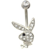 Playboy Bunny Clear/Black CZ Non-Dangle Belly Ring