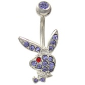 Playboy Bunny Violet/Red CZ Non-Dangle Belly Ring