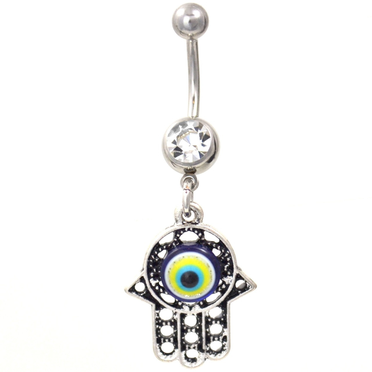 Evil Eye In Hamsa Hand Belly Button Ring